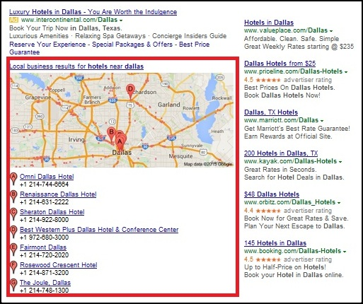 desktop results for local places on google 2015