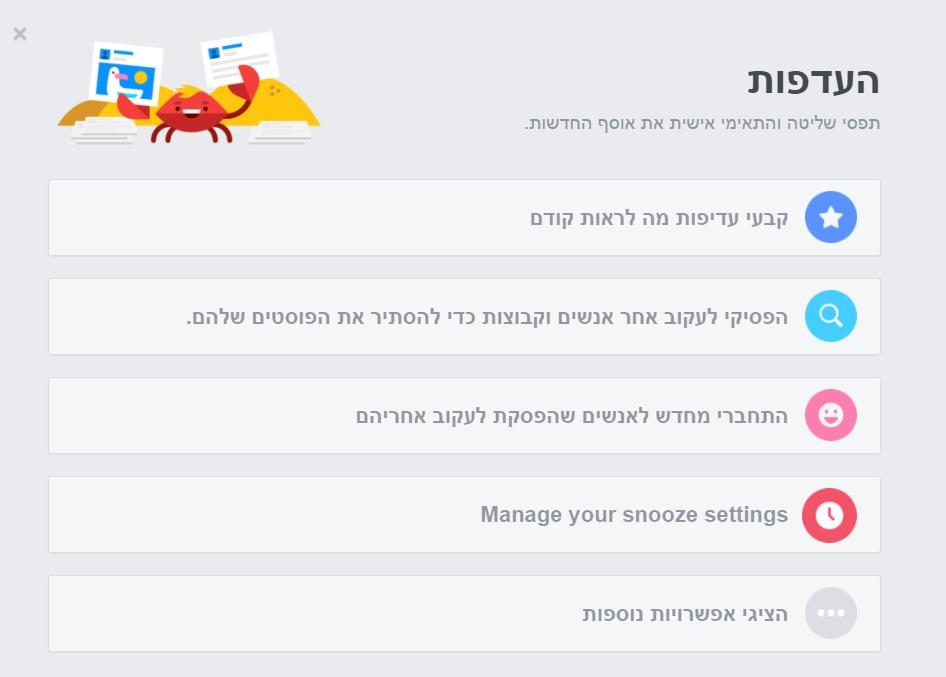 העדפות תוכן בניוזפיד - פייסבוק