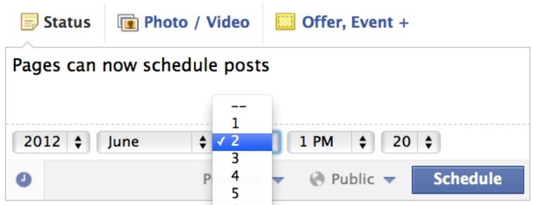 facebook schedule posts-2012